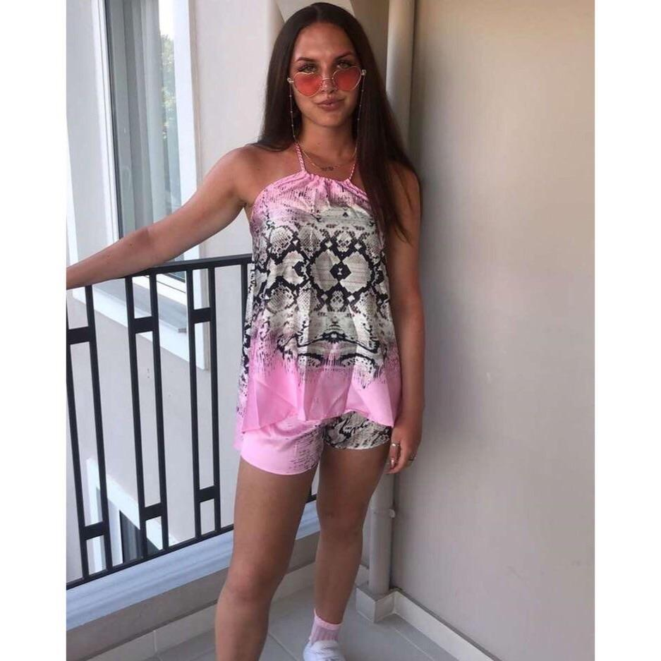 ALEXANDRA PINK SILKY HALTER NECK SHORTS CO ORD TWO PIECE SET