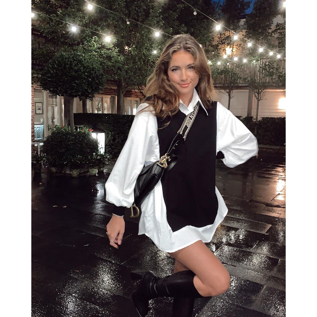 ANNABELLE BLACK OVERSIZED SHIRT DRESS WITH PUFF SLEEVES
