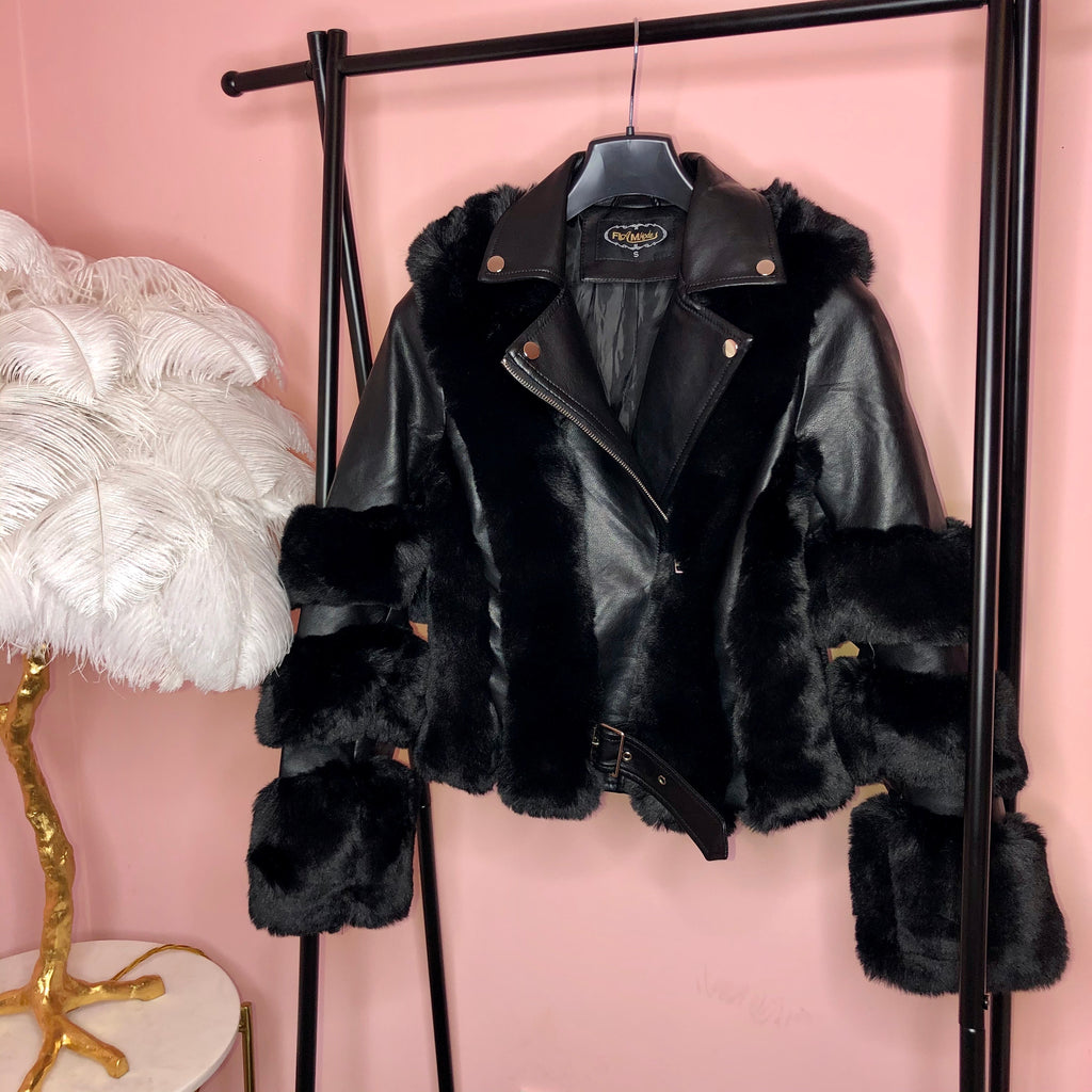 SASKIA BLACK FAUX FUR LEATHER JACKET