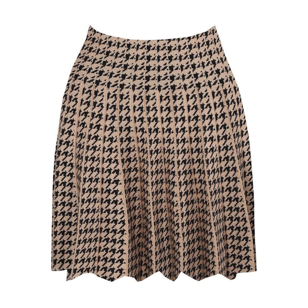 HAYDEN TAN DOGTOOTH HIGH WAIST PLEATED SKIRT - Celeb Threads