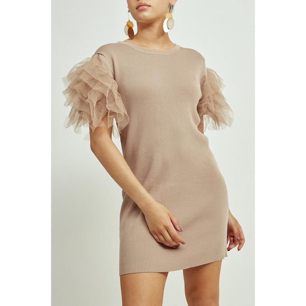 LIV NUDE TULLE SLEEVE RIBBED DRESS - Celeb Threads