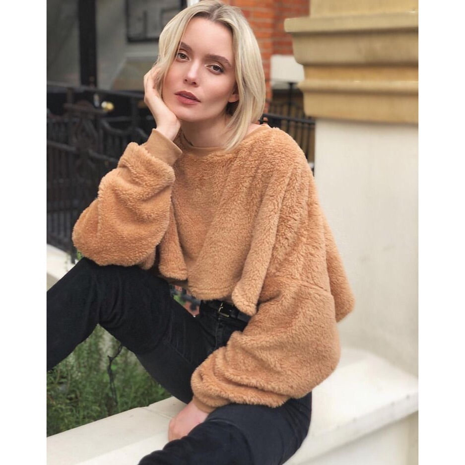 BEAR FLEECE TEDDY BEAR CROPPED JUMPER - Celeb Threads