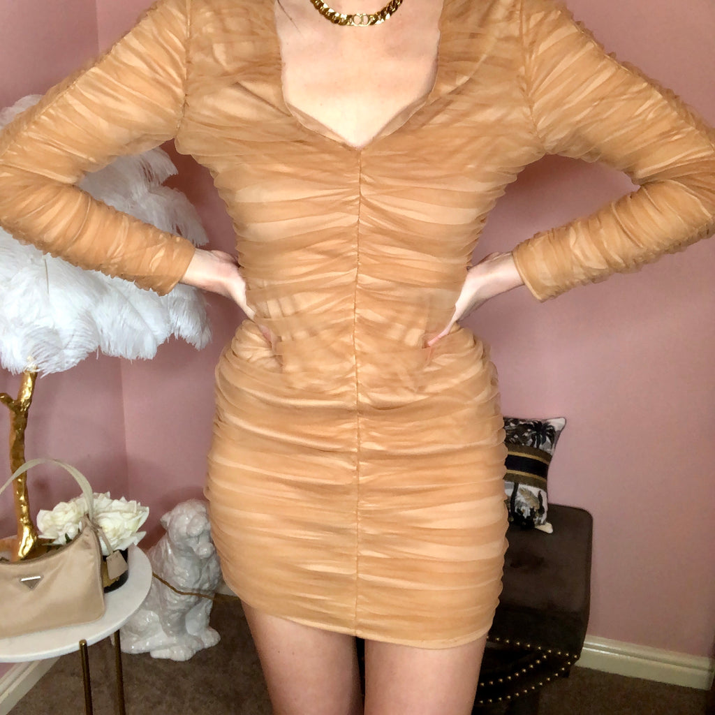 ROMI NUDE RUCHED MINI DRESS - Celeb Threads