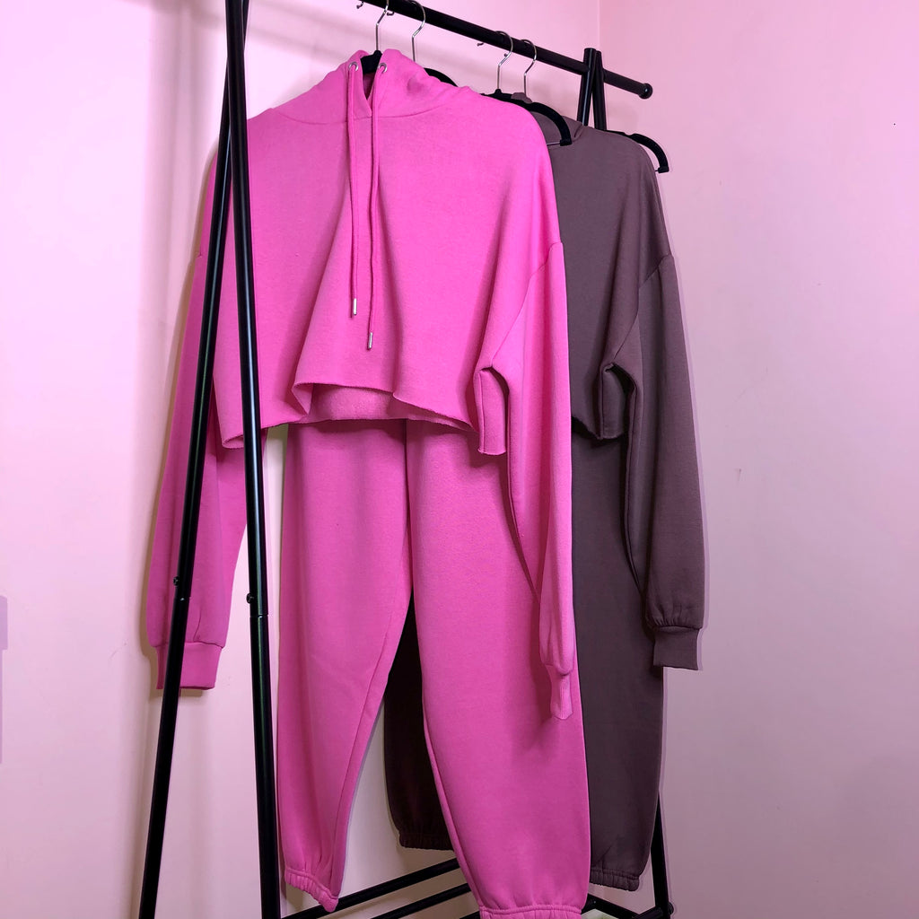 Lucie hot pink fleece lined oversized tracksuit