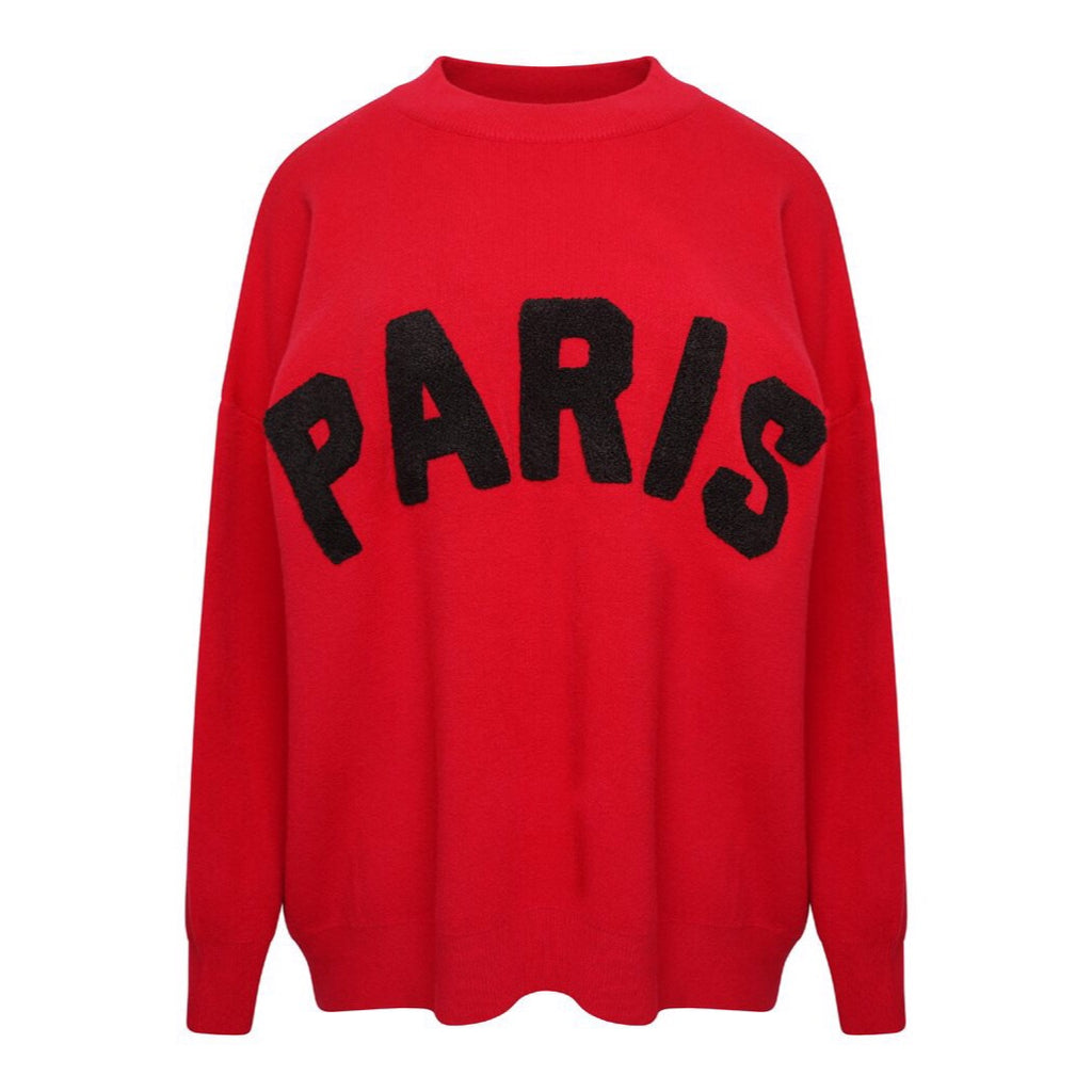 J'ADORE PARIS RED JUMPER - Celeb Threads