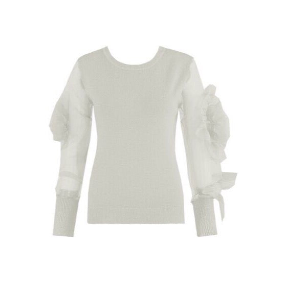 LONDON WHITE FLORAL ORGANZA SLEEVE JUMPER - Celeb Threads