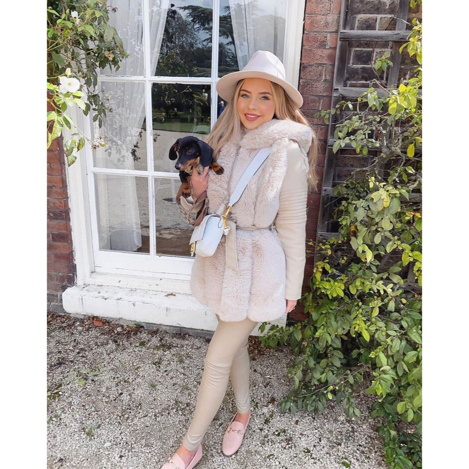 LILY CREAM HOODED FAUX FUR TRIM BELTED LONGLINE COAT