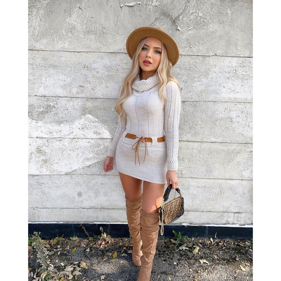 KELSEY BEIGE POLAR NECK KNITTED JUMPER DRESS
