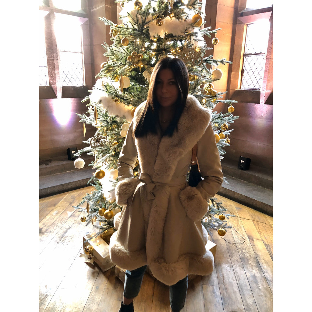 CHLOE CREAM FAUX FUR TRIM BELTED LONGLINE COAT - Celeb Threads