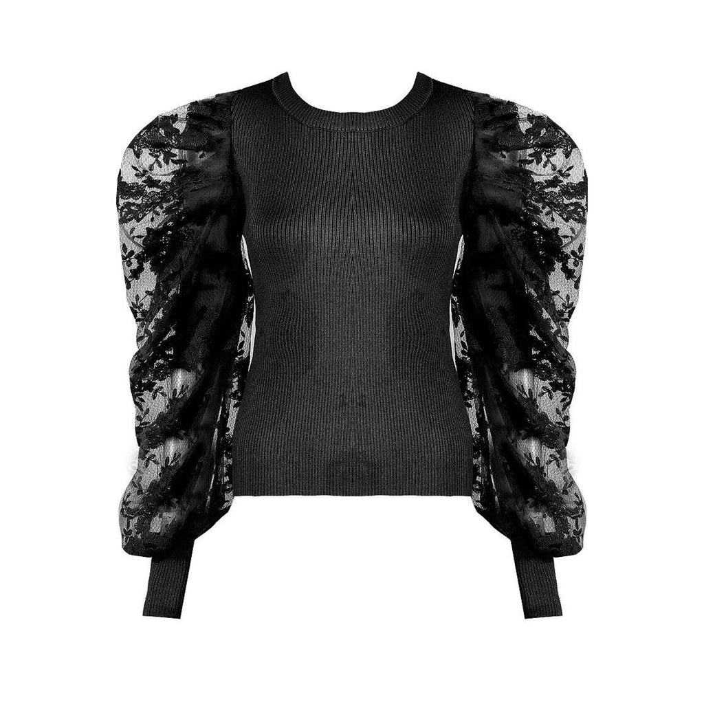 ELISE BLACK FLORAL ORGANZA SLEEVE TOP - Celeb Threads