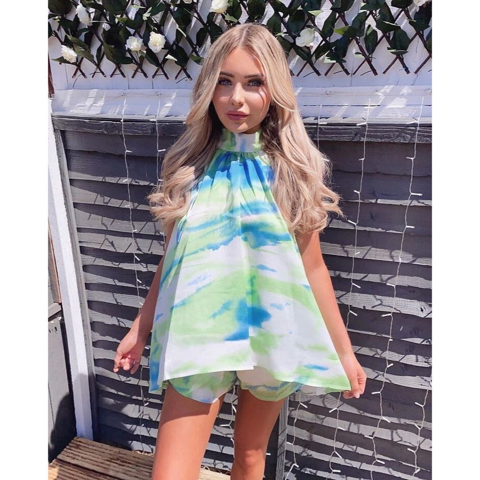 ANAIS TIE DYE SILKY HALTER NECK SHORTS CO ORD TWO PIECE SET