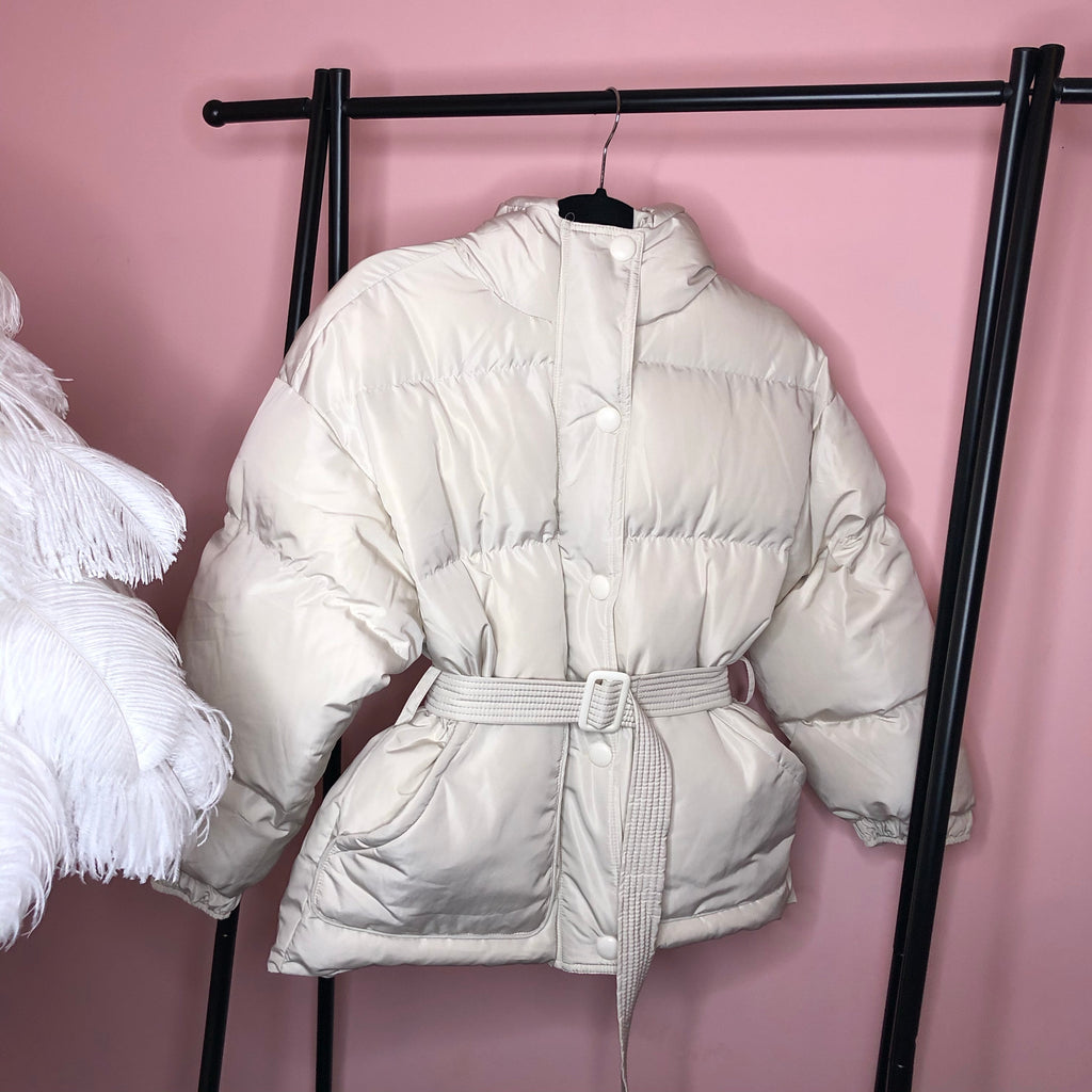 SARA CREAM BELTED PUFFER JACKET WITH HOOD