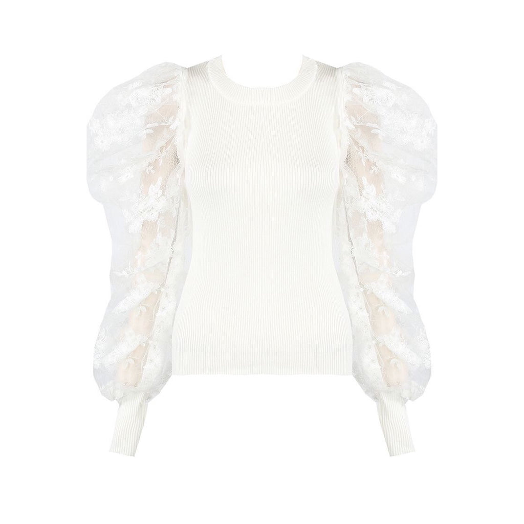 ELISE WHITE FLORAL ORGANZA SLEEVE TOP - Celeb Threads