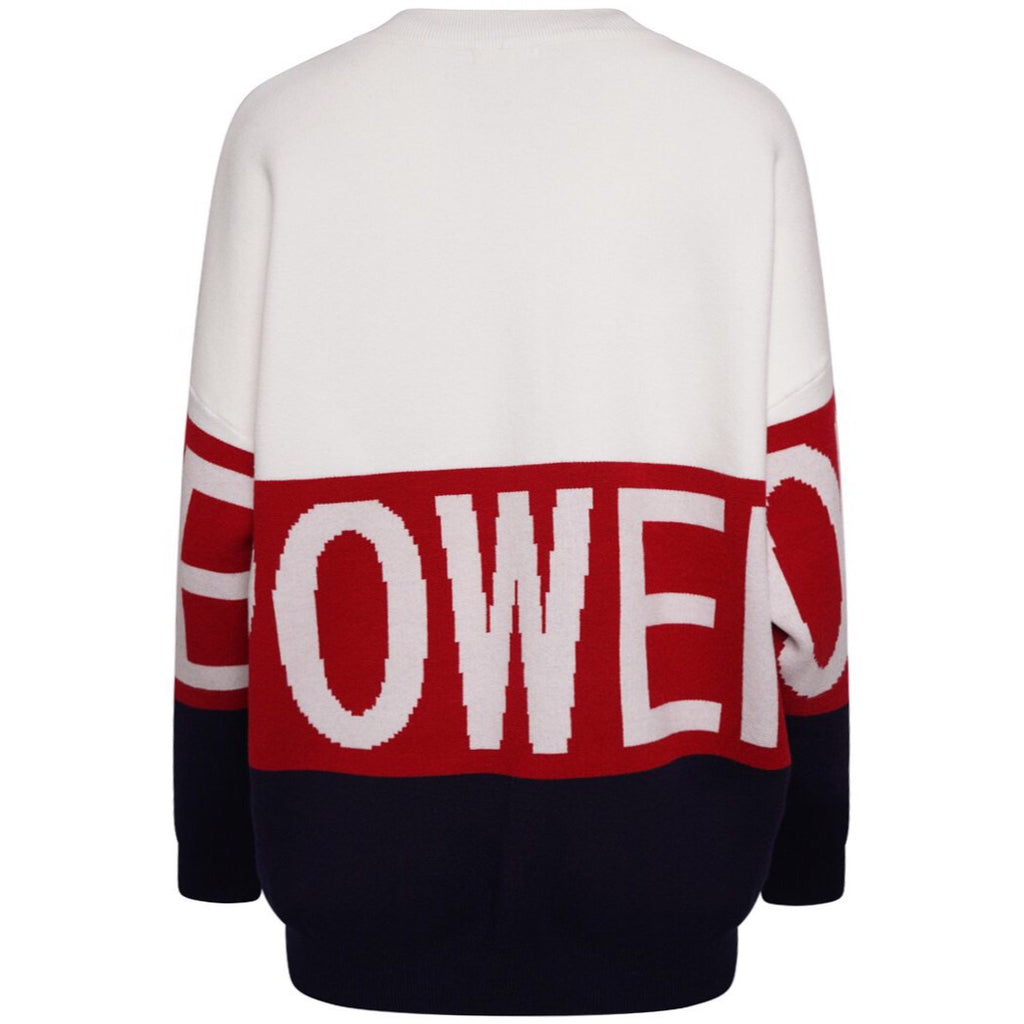 POWER WHITE KNIT JUMPER - Celeb Threads