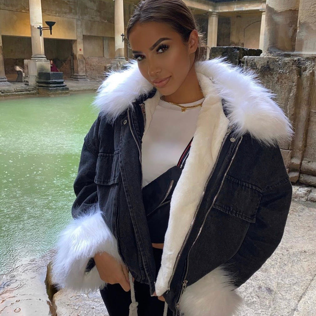 ALYSSA WHITE ON BLACK FAUX FUR DENIM JACKET - Celeb Threads