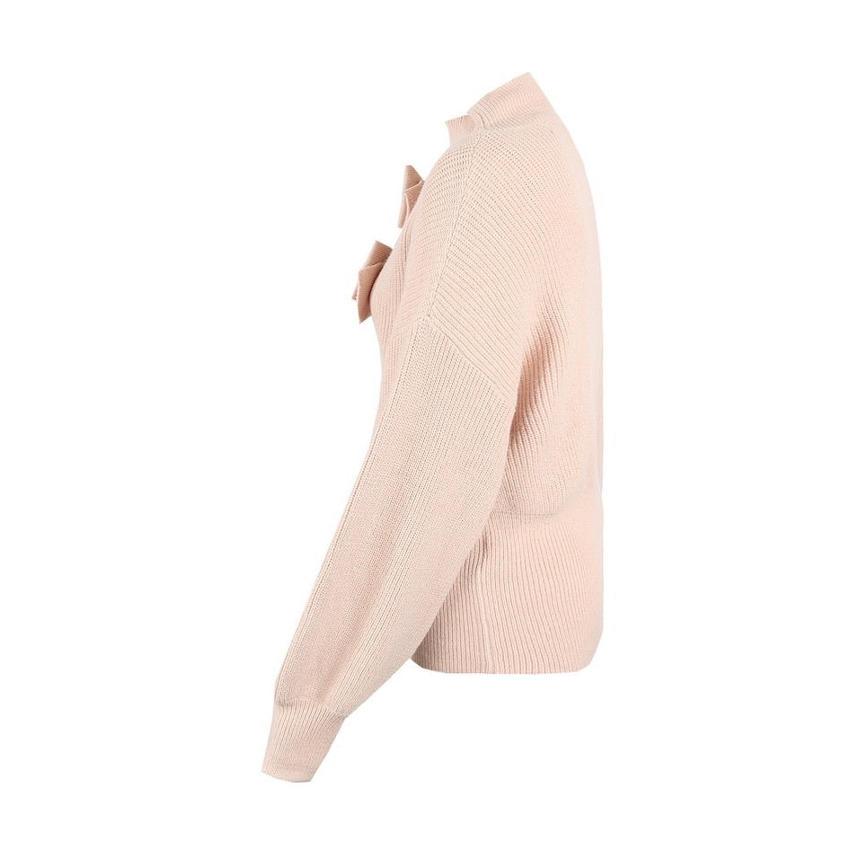 BONNIE BLUSH BOW DETAIL TURTLE NECK KNITTED JUMPER - Celeb Threads