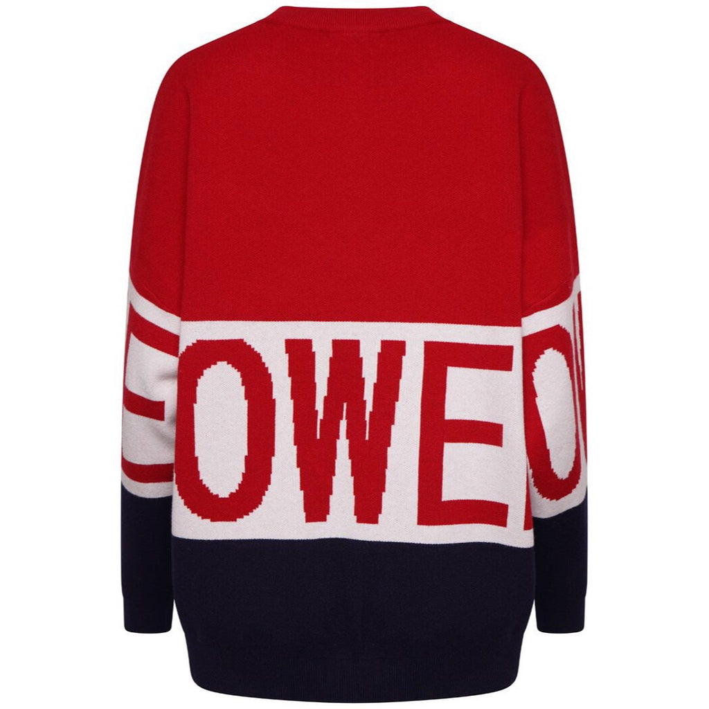 POWER RED KNIT JUMPER - Celeb Threads