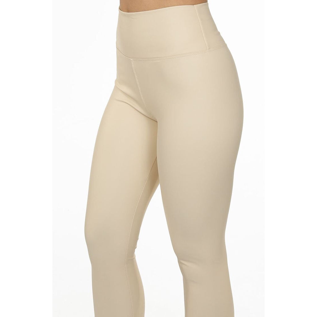 ALYIA CREAM HIGH WAIST FUAX LEATHER LEGGINGS