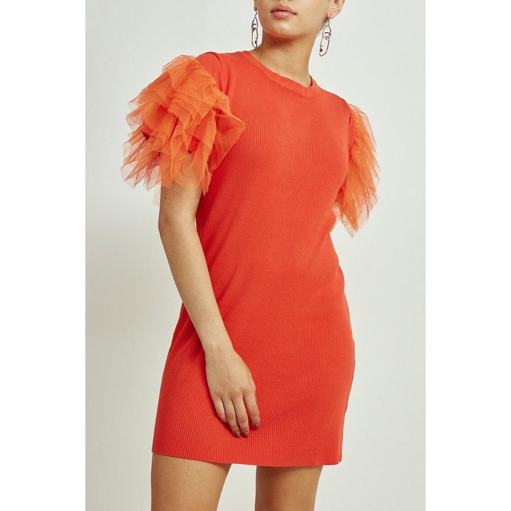 LIV CORAL TULLE SLEEVE RIBBED DRESS