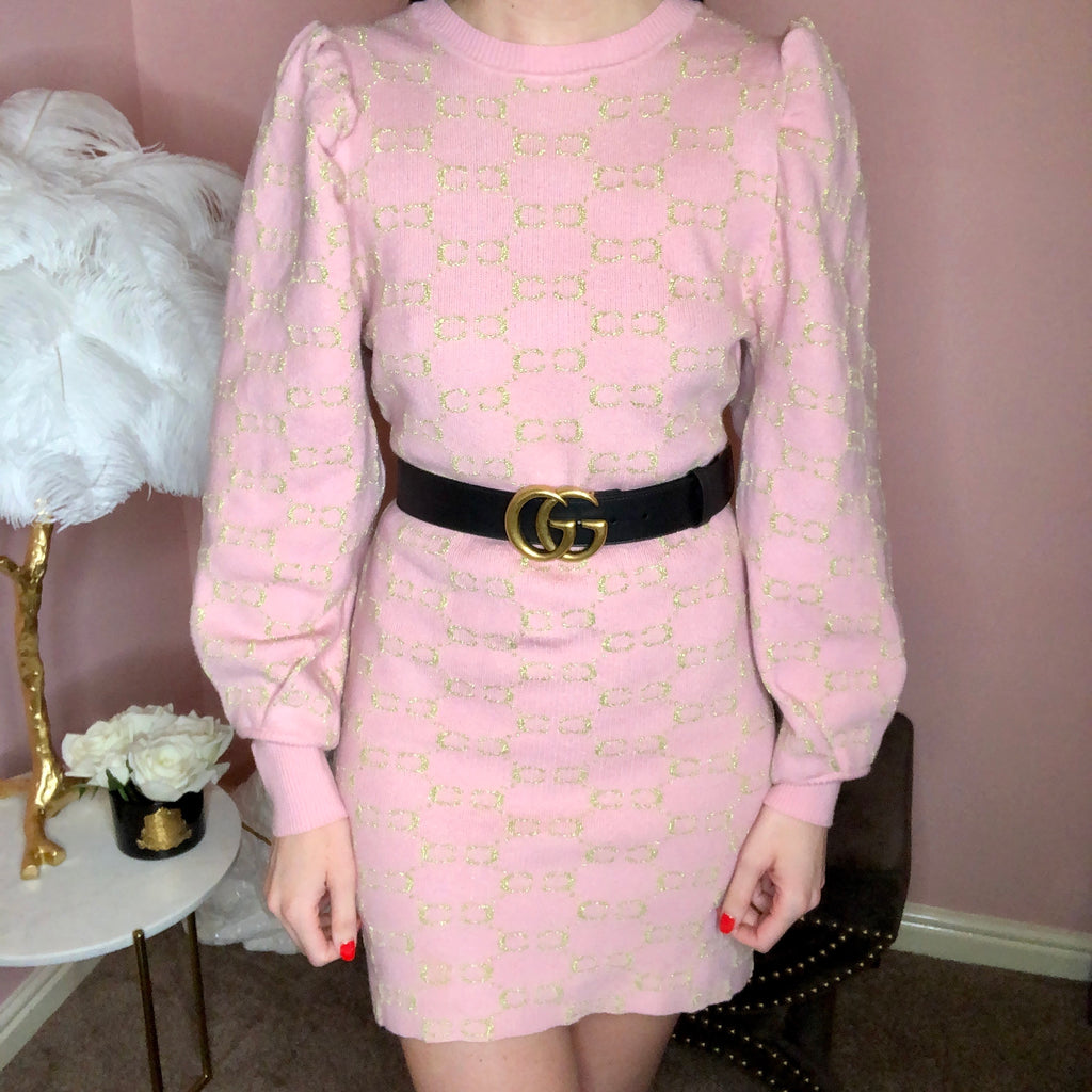 CC PINK PUFF SHOULDER JUMPER DRESS - Celeb Threads