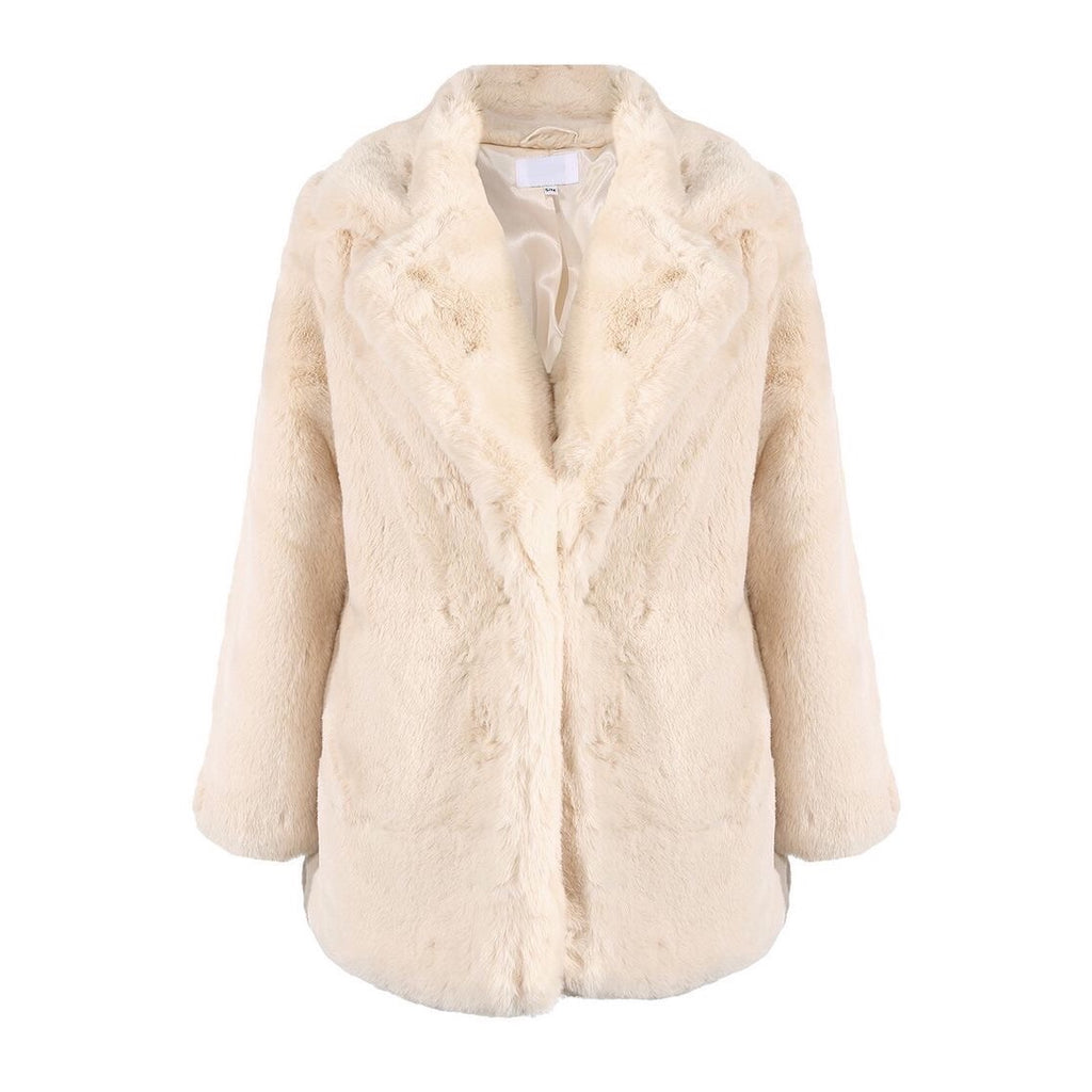 BELLA LIGHT BEIGE SUPER SOFT FAUX FUR JACKET - Celeb Threads