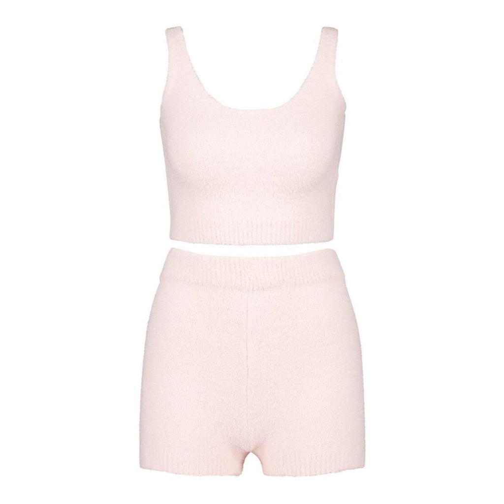 COZY KNIT PINK CROP AND SHORT LOUNGE SET