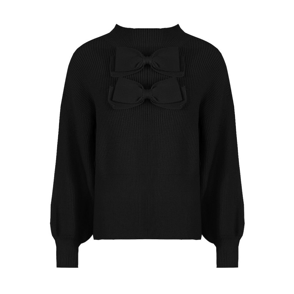 BONNIE BLACK BOW DETAIL TURTLE NECK KNITTED JUMPER - Celeb Threads