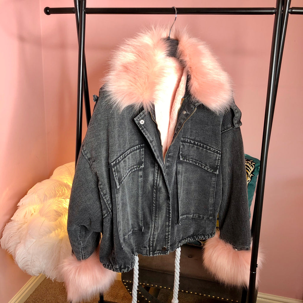 ALYSSA PINK FAUX FUR DENIM JACKET - Celeb Threads