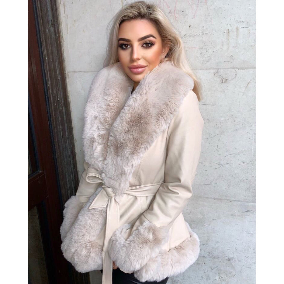 LIA CREAM FAUX FUR TRIM BELTED SHORT COAT