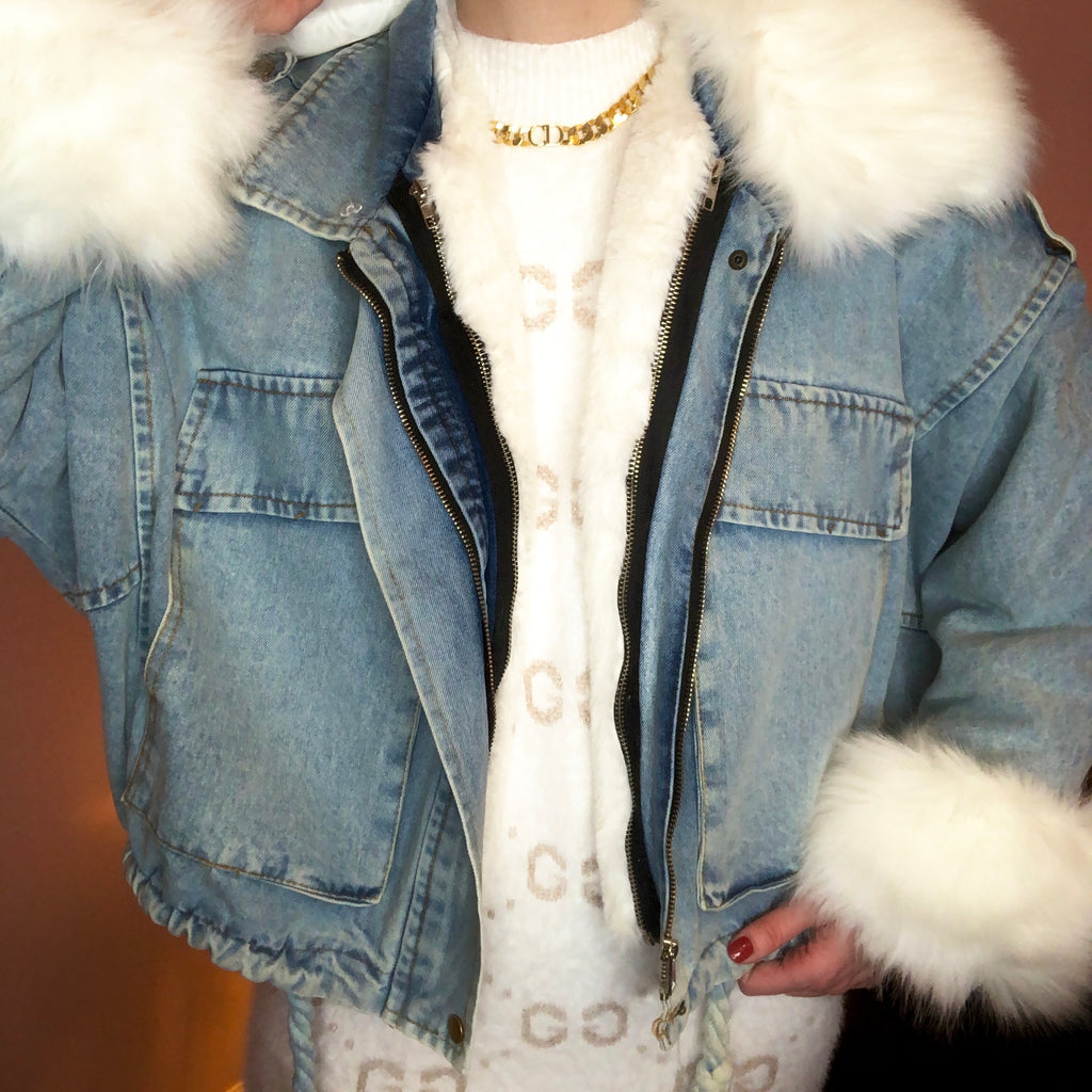 ALYSSA WHITE FAUX FUR DENIM JACKET