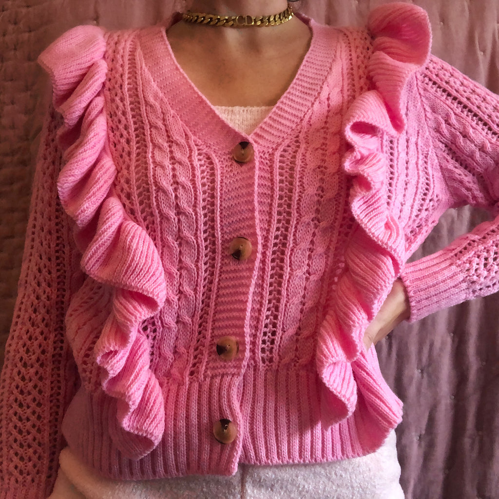 ARIA PINK KNITTED FRILLED CARDIGAN