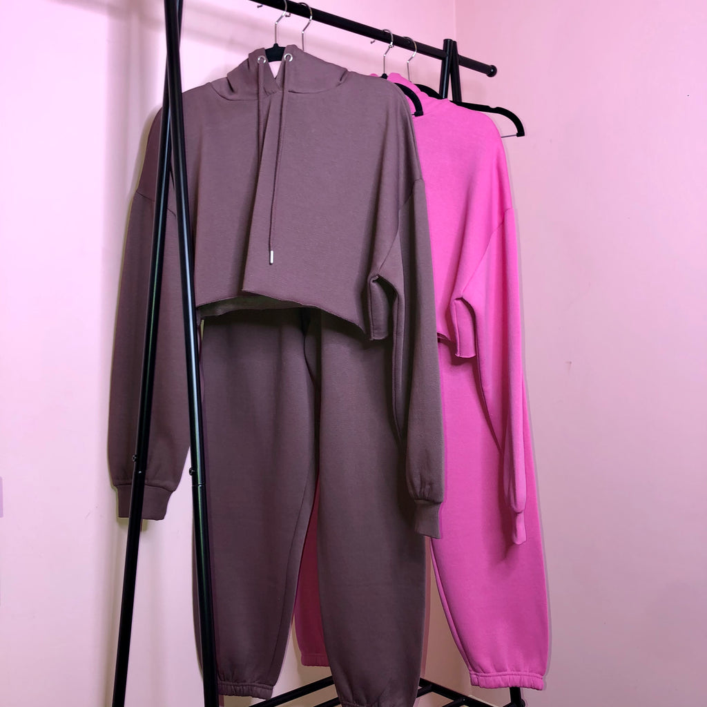 Lucie plum chocolate fleece lined oversized tracksuit