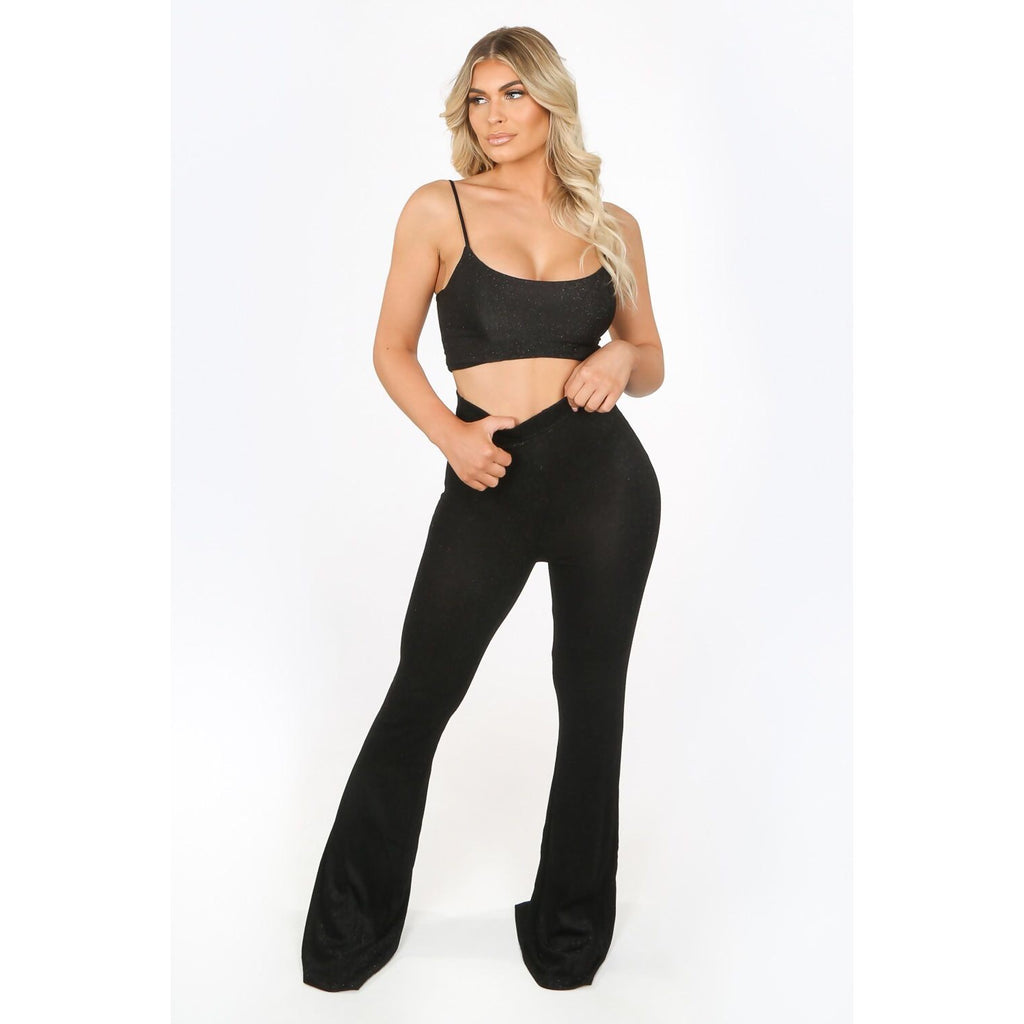 LOIS BLACK STRETCHY LUREX GLITTER CO ORD - Celeb Threads