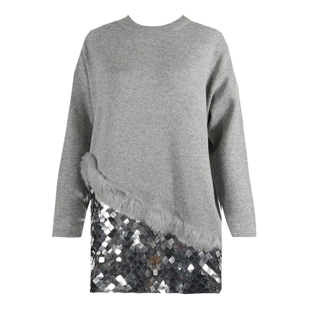 KENDALL GREY FUR EMBELLISHED JUMPER DRESS - Celeb Threads