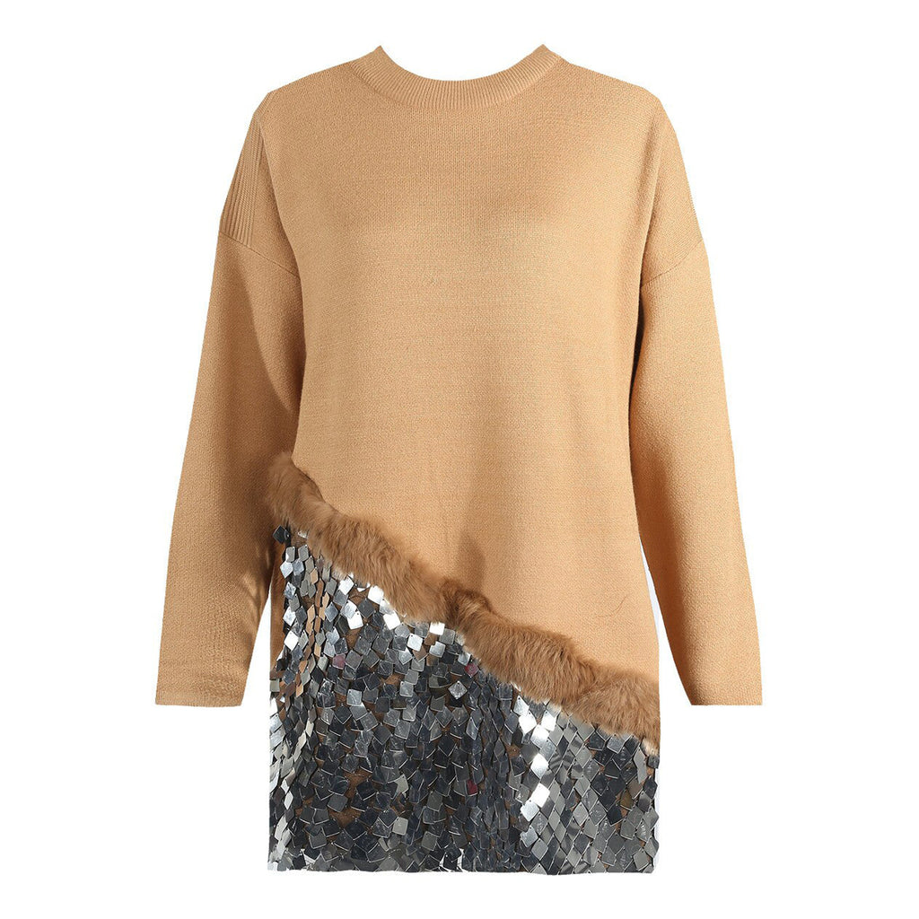 KENDALL TAN FUR EMBELLISHED JUMPER DRESS - Celeb Threads