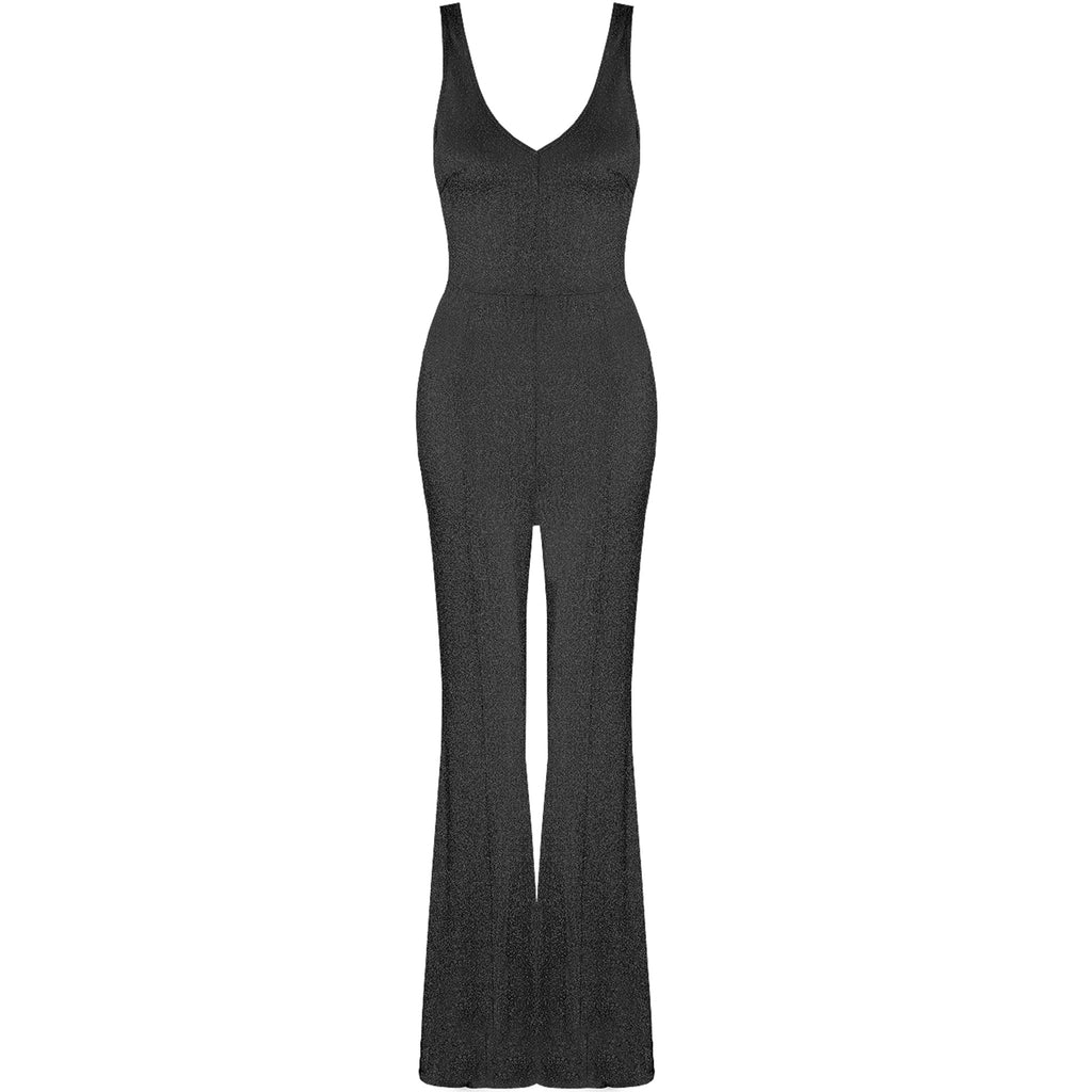 COCO BLACK LUREX GLITTER FLARED JUMPSUIT - Celeb Threads