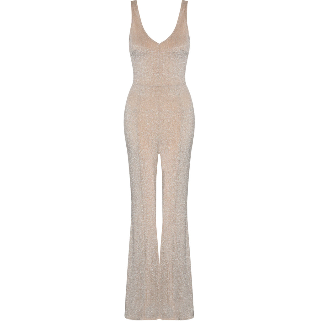 COCO LUREX GLITTER FLARED JUMPSUIT - Celeb Threads
