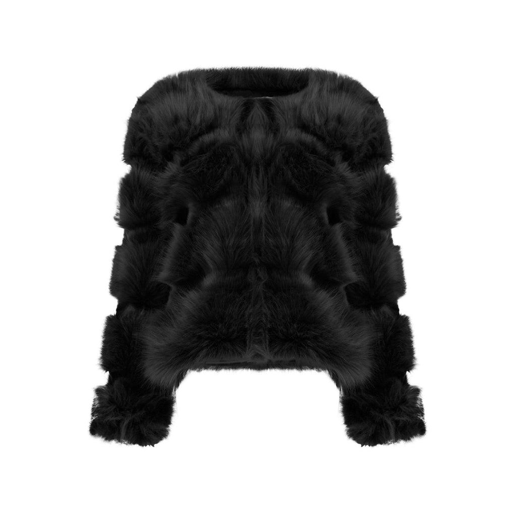 NAOMI BLACK FAUX FUR PANELLED COAT - Celeb Threads