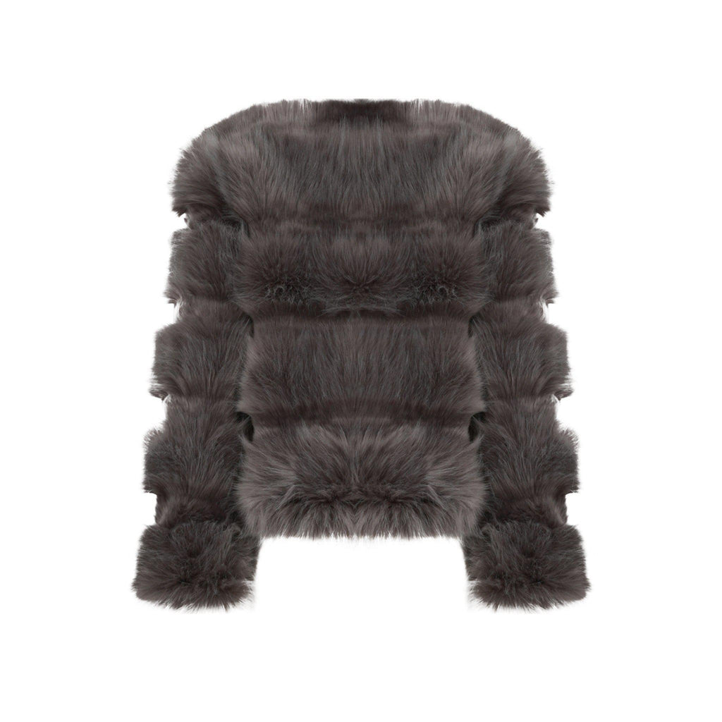 NAOMI FAUX FUR PANELLED COAT - Celeb Threads