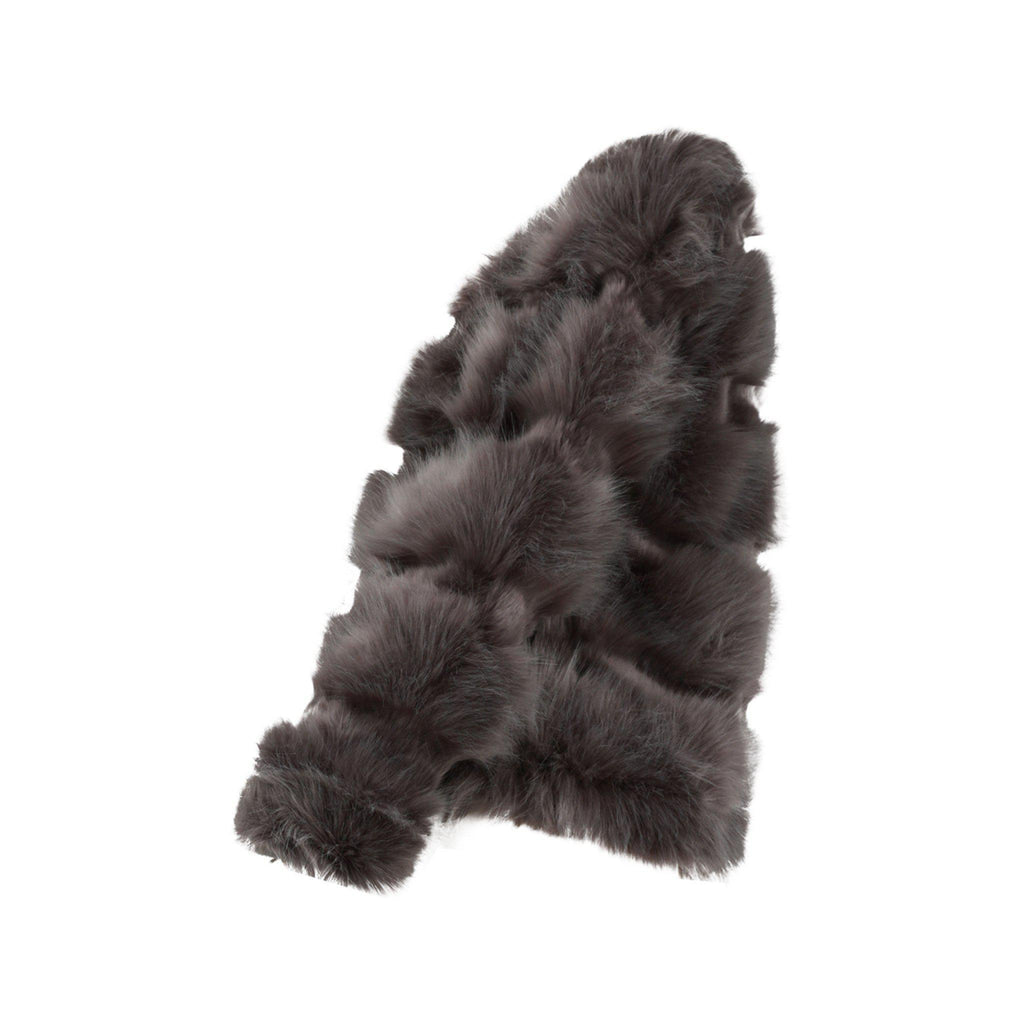 NAOMI CHARCOAL FAUX FUR PANELLED COAT - Celeb Threads