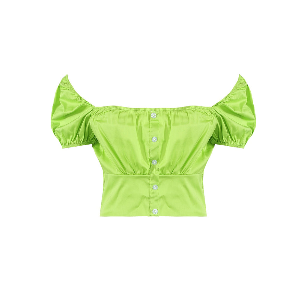 TIA GREEN POPLIN TOP - Celeb Threads