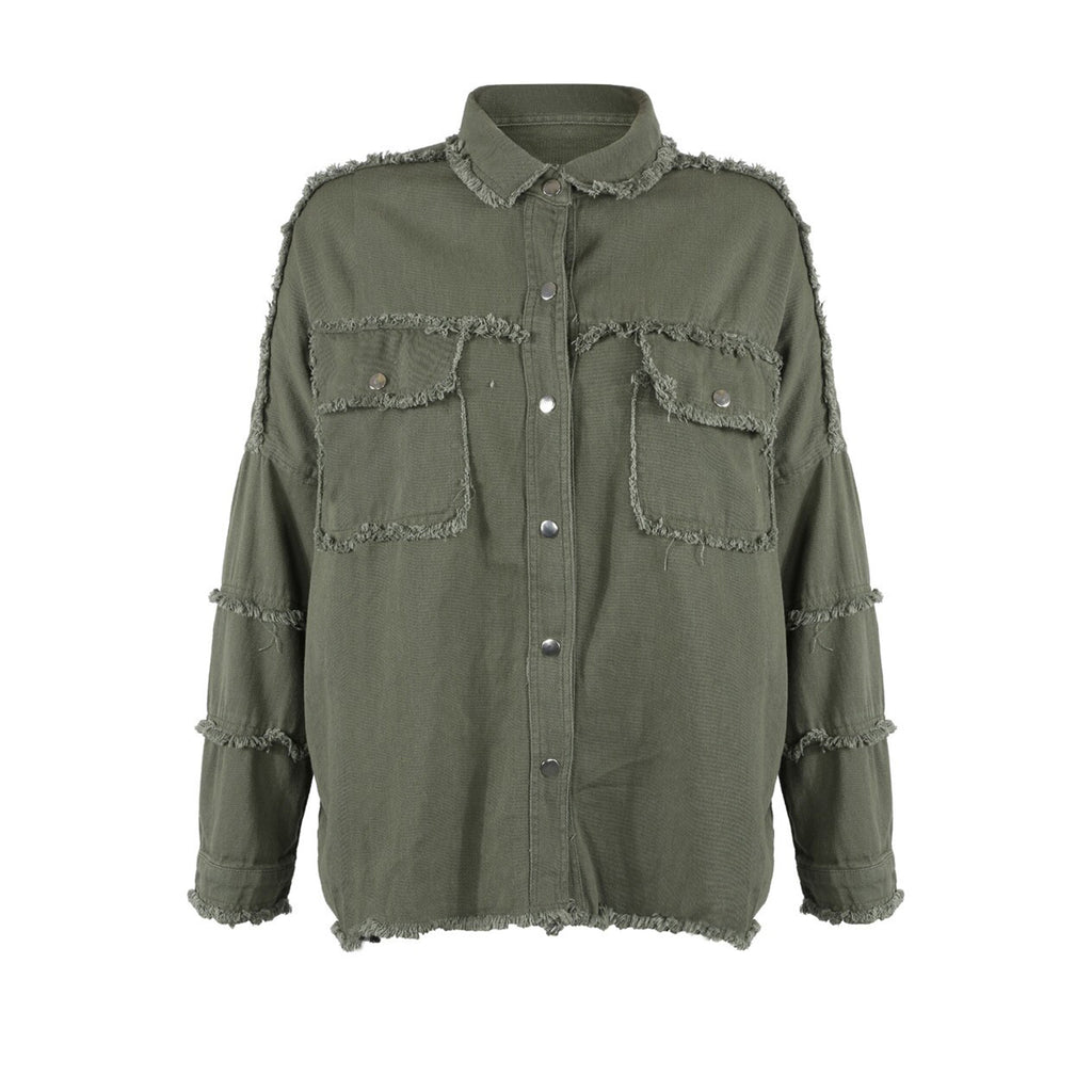 ROCK & ROLL KHAKI OVERSIZED SHIRT JACKET - Celeb Threads