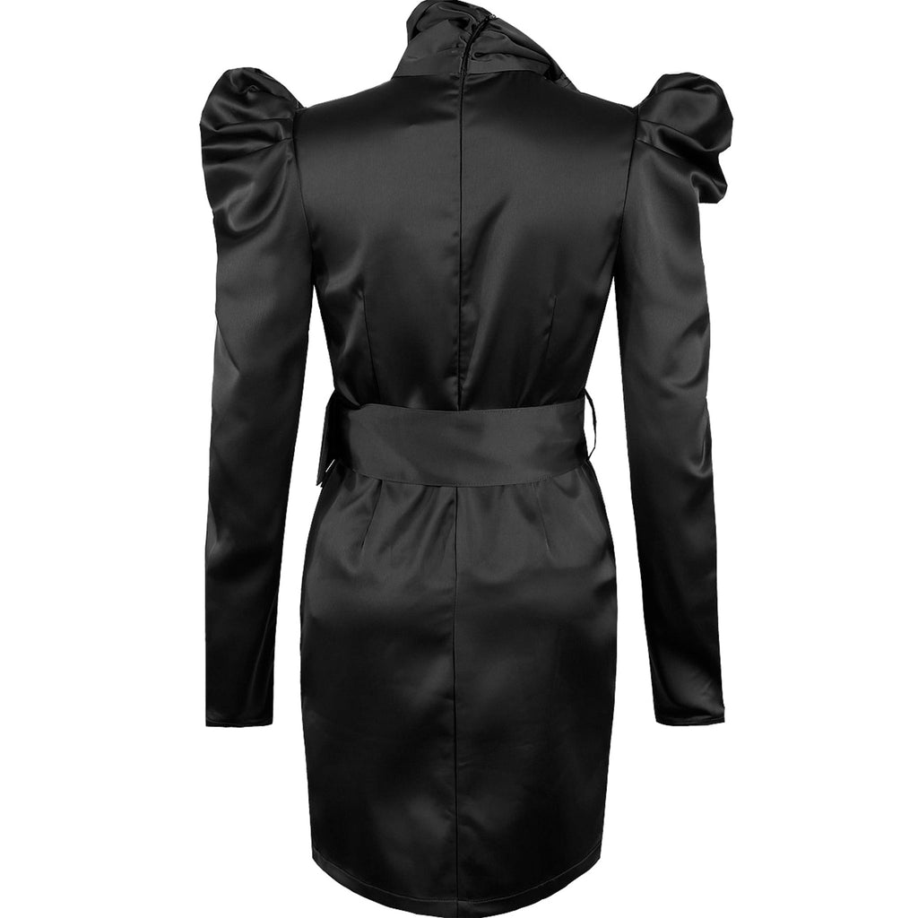 HAILEY BLACK SATIN BELTED DRESS - Celeb Threads