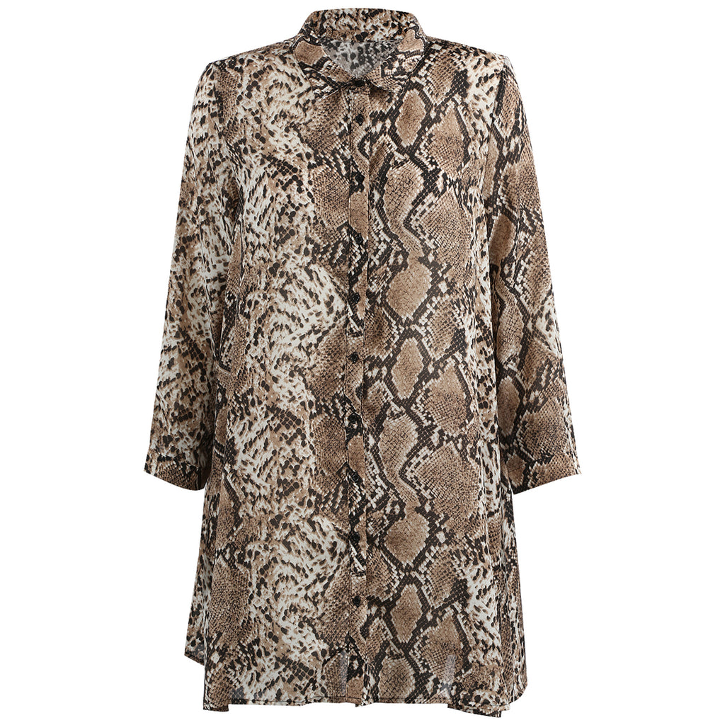 IRIS SNAKE SHIRT DRESS - Celeb Threads