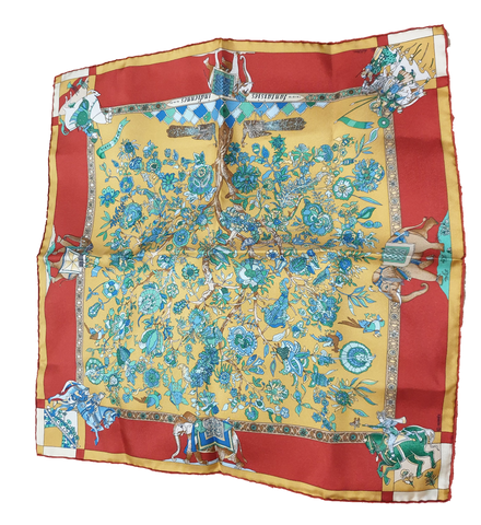 Hermes	Indian Fantasies Silk Pocket Square