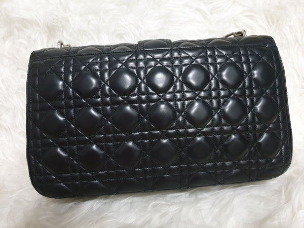 CHRISTIAN DIOR |  Black Quilted Leather Flap Bag