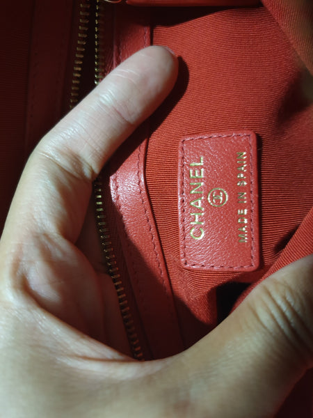 Chanel Red Lambskin Classic Pouch
