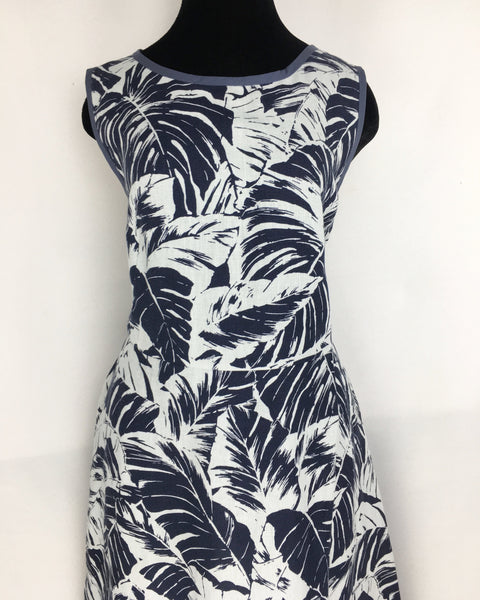 MAX MARA | US14 Blue And White Leaf Patterned Sleeveless Cotton Dress
