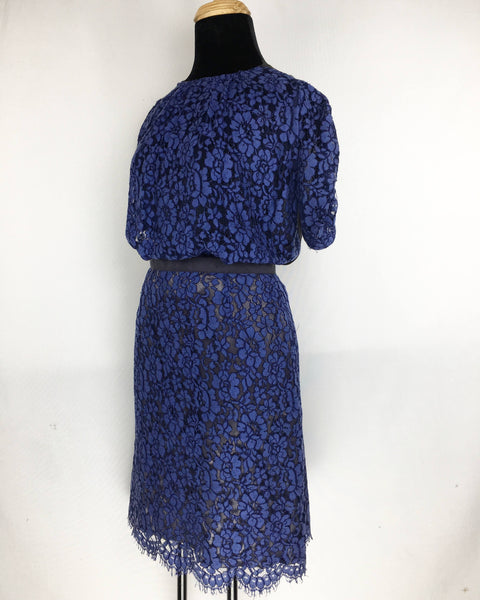 SACAI | Blue Lace Dress with Semi-Open Back