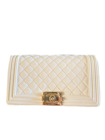 Chanel Boy Medium White Caviar Ghw